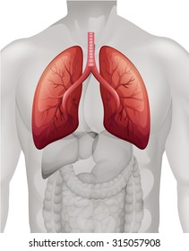 Lung cancer diagram in human illustration