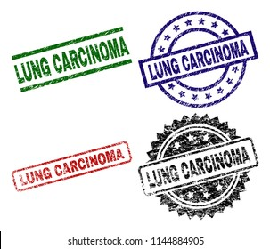 LUNG CARCINOMA seal prints with damaged texture. Black, green,red,blue vector rubber prints of LUNG CARCINOMA label with unclean texture. Rubber seals with round, rectangle, medal shapes.