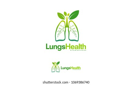 Lung care logo designs vector, Nature Lungs logo concept vector, Lungs Health logo template