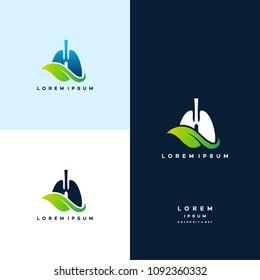 Lung care logo designs vector, Eco Lungs logo concept vector, Lungs Health logo template