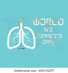 Lung and cigarette icon with Stop Smoking vector logo design template.May 31st World no tobacco day concept.No Smoking Day.No Tobacco Day Awareness Idea Campaign.Vector illustration.