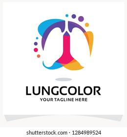 Lung Color Logo Design Template Inspiration
