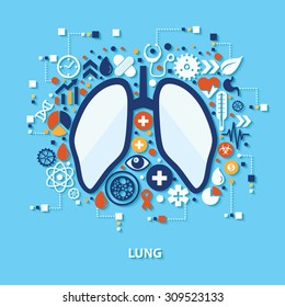 Lung concept design on blue background,clean vector