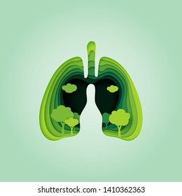 Lung and heart of nature concept paper art style.Environment and ecology conservation concept.Vector illustration.