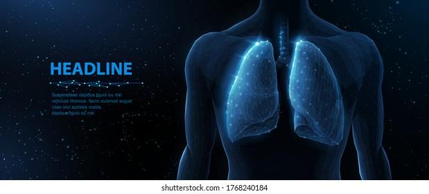 Lunge und menschlicher Körper. Abstrakte Vektorgrafik 3D-Lungen auf Körperhintergrund. Menschliche Gesundheit, Atemsystem, Lungenentzündung, Biologie, Rauchasthma, Gesundheitskonzept. Organanatomie