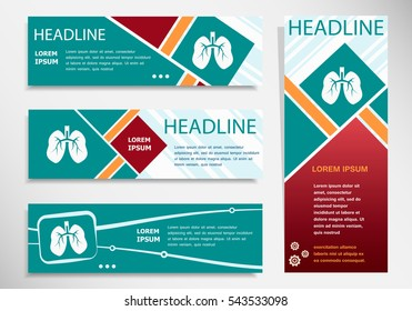 Lung icon on horizontal and vertical banner. Modern abstract flyer, banner, brochure design template.
