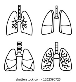Lung icon set. Outline set of lung vector icons for web design isolated on white background