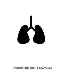 lung icon, lung symbol or logo. vector illustration.black color