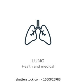 Lung icon. Thin linear lung outline icon isolated on white background from health and medical collection. Line vector sign, symbol for web and mobile