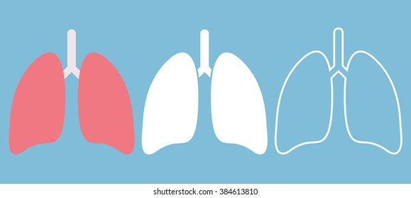 Lung icon in three different style. Vector illustration
