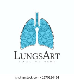 lung logo with art design, healthcare and medical icon -vector