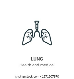 Lung outline vector icon. Thin line black lung icon, flat vector simple element illustration from editable health and medical concept isolated on white background