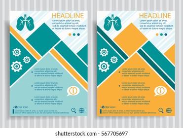 Lung web symbol on vector brochure flyer design layout template. Business modern template