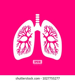 Lungs anatomy vector poster illustration isolated on pink background