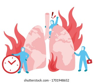 Lungs burning in fire. Medical care during dangerous Sars-CoV-2 global outbreak. Shortness of breath, inflammation, serious pneumonia and infection. Time counts. Covid-19 team safety