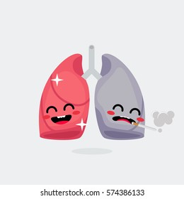 Lungs character vector illustration