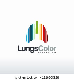 Lungs Color Logo designs concept vector, Colorful Modern Lungs Health Care logo template
