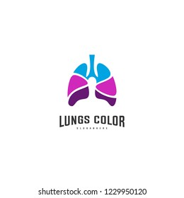 Lungs with Colorful logo vector, Health lungs logo designs template, logotype element for template