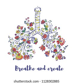 Lungs and flowers conceptual illustration for freedom - breathe and create. Vector graphic