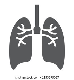 Lungs glyph icon, anatomy and biology, pulmonology sign, vector graphics, a solid pattern on a white background, eps 10.