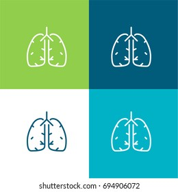 Lungs green and blue material color minimal icon or logo design