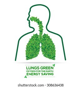 Lungs from green leaves. Energy saving concept. Vector, oxygen for the earth