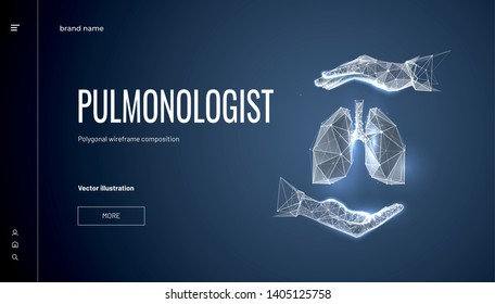 Lungs in hand.Polygonal wireframe composition. Concept for pulmonologist. Abstract isolated on dark blue background. Particles are connected in a geometric silhouette