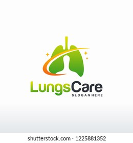 Lungs Health logo template, Lung care with swoosh logo designs vector