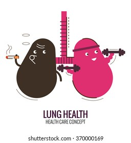 Lungs of a healthy person and smoker. Danger of smoking. Character thin line flat design. vector illustration