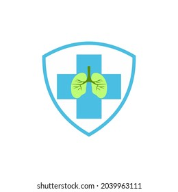 Lungs hospital logo inside the shield. lungs care iconic logo desaign vektor.