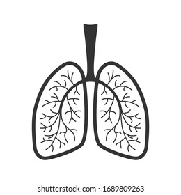 Lungs human graphic icon. Human lungs sign isolated on white background. Vector illustration