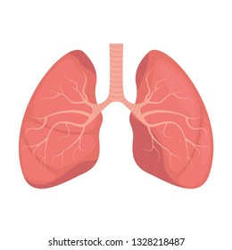 Lungs - human internal organ. Illustration of human lungs. Vector illustration.