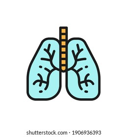 Lungs, human organ flat color line icon. Isolated on white background
