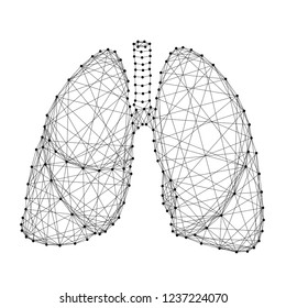Lungs human organ of respiration from abstract futuristic polygonal black lines and dots. Vector illustration.