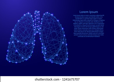 Lungs human organ of respiration from futuristic polygonal blue lines and glowing stars for banner, poster, greeting card. Vector illustration.