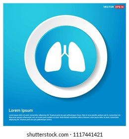 lungs, icon, Abstract Blue Web Sticker Button - Free vector icon