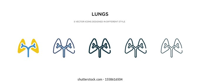 lungs icon in different style vector illustration. two colored and black lungs vector icons designed in filled, outline, line and stroke style can be used for web, mobile, ui