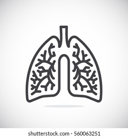 Lungs icon flat.