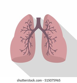 Lungs icon. Flat illustration of lungs vector icon for web