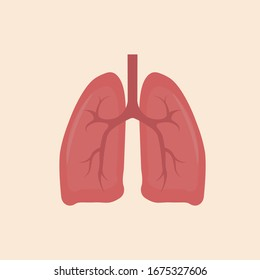 Lungs icon, flat style. Internal organs of the human design element, logo. Anatomy, medicine concept. Healthcare.Vector illustration.