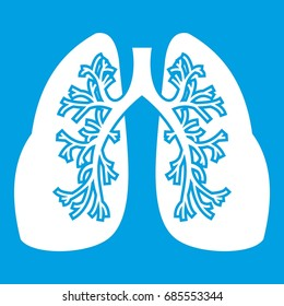 Lungs icon white isolated on blue background. Vector illustration of lungs icon for any design
