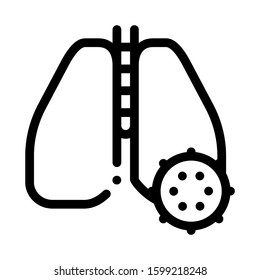 Lungs Infection Icon Vector. Outline Lungs Infection Sign. Isolated Contour Symbol Illustration