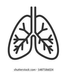 lungs internal organ outline vector icon isolated on white background. lungs flat icon for web, mobile and user interface design. medical healthcare concept