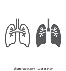 Lungs line and glyph icon, anatomy and biology, pulmonology sign, vector graphics, a linear pattern on a white background, eps 10.