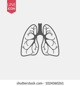 Lungs Line Icon isolated on white background. vector illustration. Human organ symbol