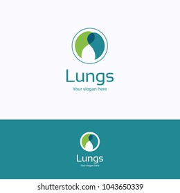 Lungs logo. Healthy blue green logotype. Medical palm template