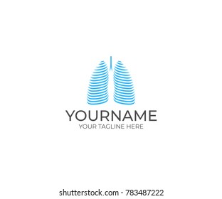 Lungs Logo Template. Pulmonary Vector Design. Medical Illustration