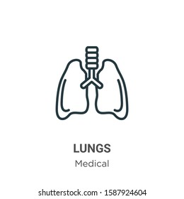 Lungs outline vector icon. Thin line black lungs icon, flat vector simple element illustration from editable medical concept isolated on white background