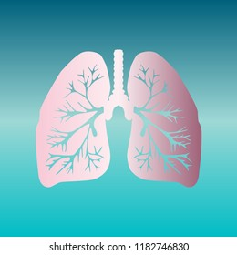 Lungs of the person. Vector. Pink bronze gradient icon at turquoise gradient background.