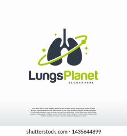 Lungs Planet logo designs concept vector, Lungs shield logo, Lungs Care logo template